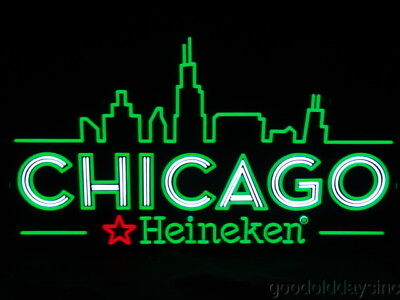 "Neon Style CHICAGO Heineken BEER Sign LED Light-Up Advertising SIGN 31"" x 18"""