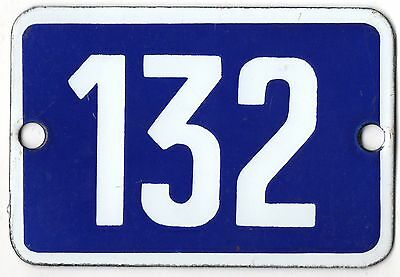 Cute old blue French house number 132 door gate plate plaque enamel metal sign