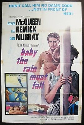 Baby The Rain Must Fall 1965 Steve McQueen Lee Remick Original US One Sheet