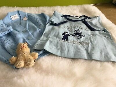 AUTHENTIC VINTAGE 1970s UNUSED BABY BOYS CHILDRENS CARDIGAN T SHIRT 9 months