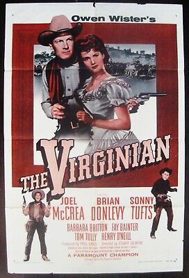 The Virginian 1956 Joel McCrea Brian Donlevy Original US One Sheet Poster