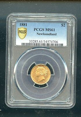 1881 Newfoundland $2 Gold PCGS certifed MS61 BV: $3000 TB321