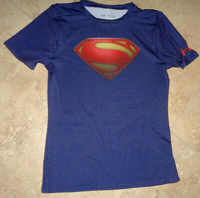Under Armour Heat Gear Superman Stretch t-shirt youth XL best for 16-18