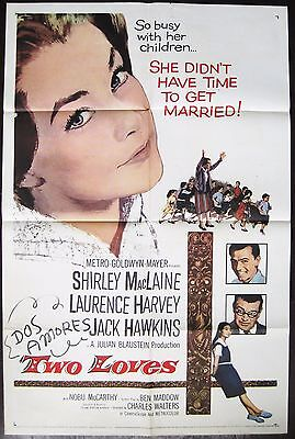 Two Loves 1961 Shirley MacLaine Laurence Harvey Jack Hawkins Original US Poster