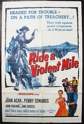 Ride A Violent Mile 1957 John Agar Original US One Sheet Poster