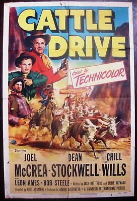Cattle Drive 1951 Joel McCrea Dean Stockwell Chill Wills Original US Poster