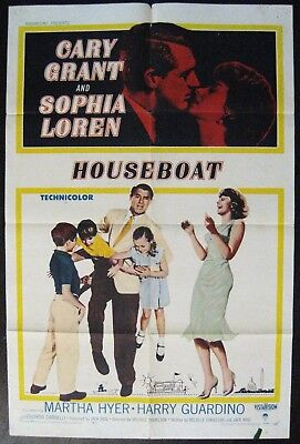Houseboat 1958 Sophia Loren Cary Grant Original US One Sheet Poster