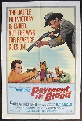 Payment In Blood 1967 Edd Byrnes Guy Madison Original US One Sheet Poster
