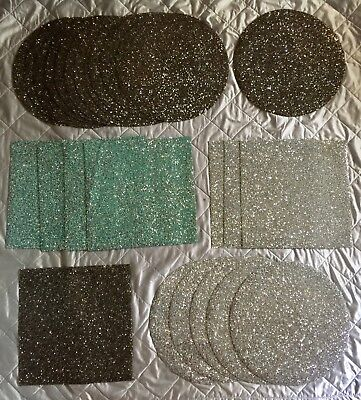 Sparkles Home Luminous Madison Ave Crystal Rhinestone Placemat Round Square New!