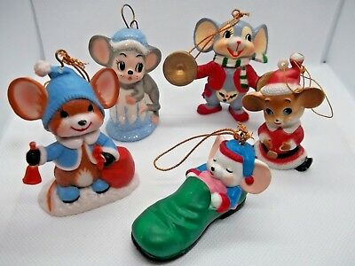 Vintage Christmas Mouse Collection Set of 5 Ornaments MICE 70's Bell Santa Shoe