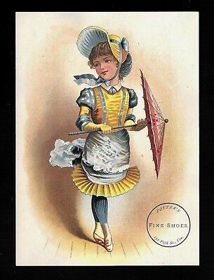 Fancy Fashionable Lady With Parasol-1880s Victorian Trade Card-Shoes