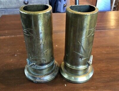 """Pair of Antique Chinese or Japanese Brass Bamboo Bookend Vases, 7"""""""