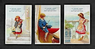 Girls & Boy By Beautiful Blue Sea-Lot 3 Colorful Victorian Trade Cards