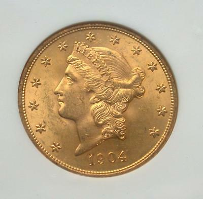 1904 $20 Twenty Dollar St. Gaudens Double Eagle Gold Coin NGC MS 63