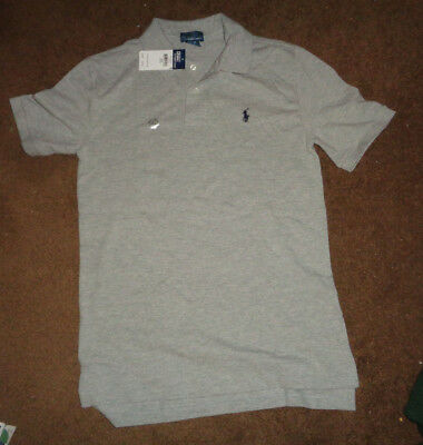 New w Tag Gray Ralph Lauren Polo Collared Polo Shirt Youth L 14-16