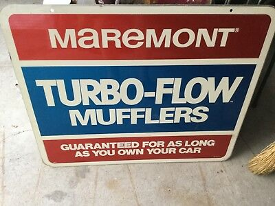 Vintage MAREMONT TURBO-FLOW MUFFLERS Auto Parts Two-Sided METAL SIGN