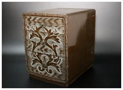 AIN16 Japanese Antique Ainu wooden drawer box / Ornament okimono Japan