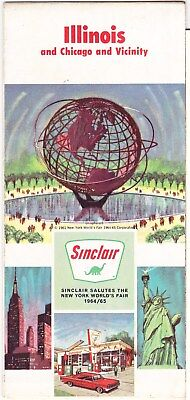 1964 Worlds Fair Sinclair Gasoline Map:  Illinois   Chicago & Vicinity
