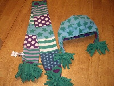 NWT Girls Size S/M Gap Kids Winter Fleece Neck Scarf and Hat Green Purple