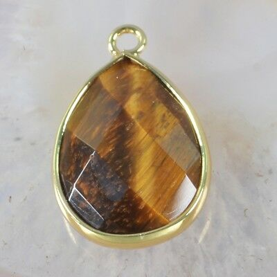 Tiger's Eye Faceted Bezel Charm One Bail Gold Plated T052484