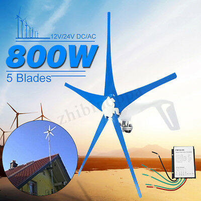 800W 12V 24V 5 Blades Horizontal Wind Turbine Generator Power+ Charge Controller