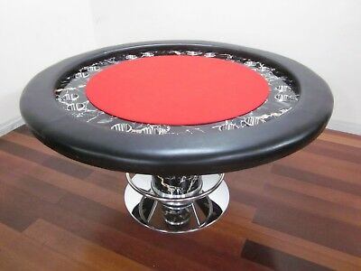 "Luxury Design 58"" Round Professional Poker Table  W/ Black  Marble [Red Felt]"