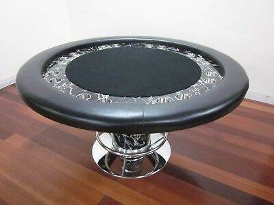 "Luxury Marble  Design 58"" Round Professional Poker Table W/ Foot Rest + 2 Cards"