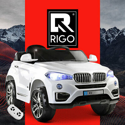 RIGO Kids Ride On Car Electric Toys 12V Battery White w/ Remote MP3 LED Lights