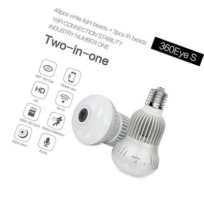 360?? Panoramic Wireless Bulb Camera HD 3MP Two-way Audio Night Vision Lighting