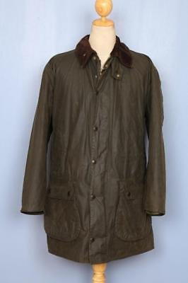 Mens BARBOUR Border Waxed Jacket Green Size 42
