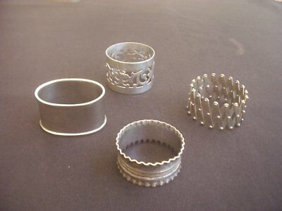 4 Vintage Silver Plated Napkin Rings ~All Different Designs ~1 Expanding