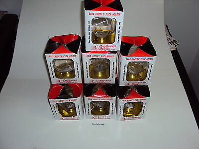 10 - GOLD HOCKEY PUCK HOLDER - Display Case with Gold base