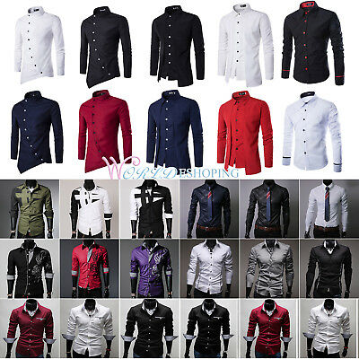 Men's Luxury Long Sleeve Business Shirts Wedding Formal Dress Casual Shirt Tops