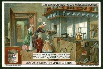 18th Century German Kitchen Cooking Goose Chef Meal c1915 Trade Ad Card