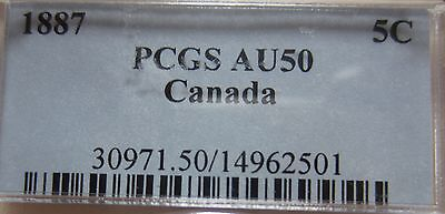 1887 Canada Silver Five Cents Cent Coin. PCGS AU-50 KEY DATE