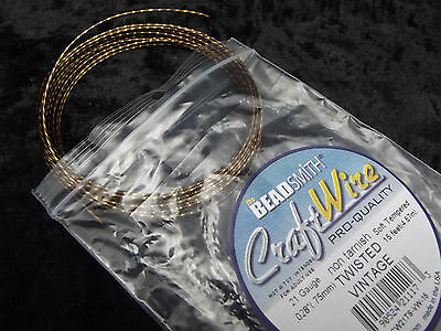 Beadsmith Craft Wire Non Tarnish Vintage Bronze Soft Twisted Square 15 ft  21 Ga