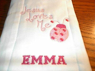 Personalized Burp Cloth Jesus Loves Me In Pink