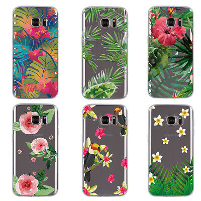NEW Clear INS Plant Pattern Soft TPU Case Cover For Samsung Galaxy S7 S6 Edge