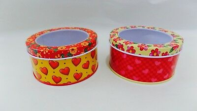 2 Mary Engelbreit Flower & Hearts Small Decorative Tins Pre-Owned Vibrant Colors