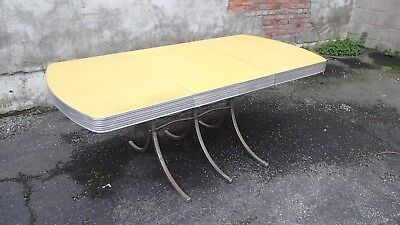 Retro Yellow Formica Chrome Edge Table W 6 Chairs Leaf Vintage