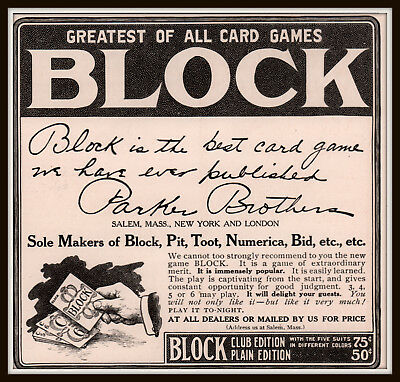 1905 B  Ad   Block Greatest Card Game Parker Brothers Pit Toot Numerica Bid