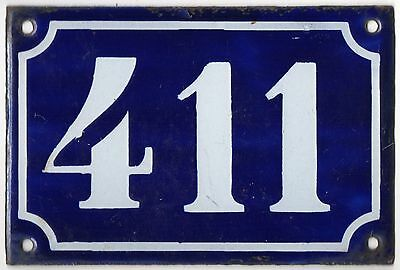 Old blue French house number 411 door gate plate plaque enamel metal sign c1900