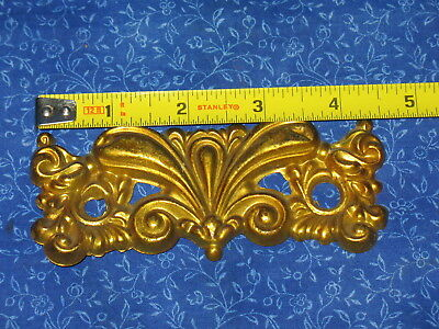 Antique Solid Stamped Brass Set Of Eight Drawer Dresser Cabinet Back Plates