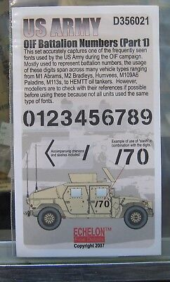 Echelon D Us Army Oif Battalion Numbers Pt 1 Decal