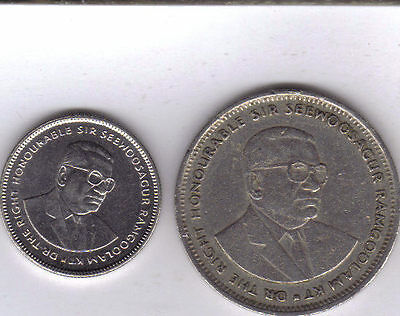2 DIFFERENT COINS from MAURITIUS - 20 CENTS & 1 RUPEE (BOTH DATING 1990)