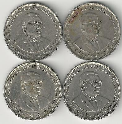 4 DIFFERENT 1 RUPEE COINS from MAURITIUS (1993, 1997, 2002 & 2009)