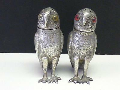 RARE 1873 TIFFANY & Co Novelty Figural OWL Sterling Silver Salt & Pepper Shaker