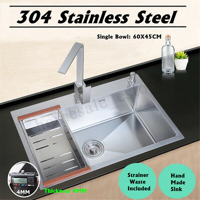 60x45cm Stainless Steel Top Mount Single Bowl Basin Kitchen Sink Commercial Home