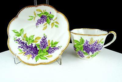 "Salisbury England #2299 Lilac Gold Scalloped Rim 2 1/1"" Cup And Saucer"