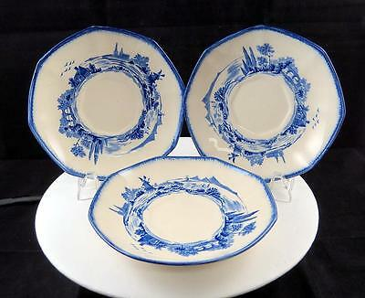 "Royal Doulton Multisided Norfolk Blue 3 Pc Windmill Scene 6 1/4"" Saucers 1890-01"